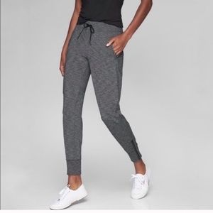Athleta L metro jogger heathered gray zip ankle